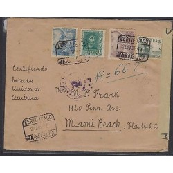 O) 1945 SPAIN, CERTIFIED COVER MULTIPLE TO MIAMI BEACH, CINDERELLAS AYUNTAMIENT