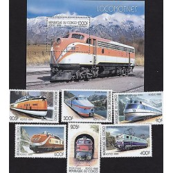 G)1999 CONGO, LOCOMOTIVE-RAILROAD-RAILWAY, SET OF 6 & 1 S/S, MNH