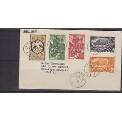 O) 1949 AFRICA, FRENCH AFRICA EQUATORIAL TO USA RINOCEROS, TREES, BIRD ENDEMIC X