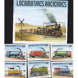 G)1999 TOGO, STEAM LOCOMOTIVE-RAILROAD-RAILWAY, SET OF 6 & 1 S/S, MNH