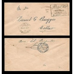 E)1801 COLOMBIA, CALLAO CIRCULAR CANC,. CIRCULATED COVER FROM GUAYAQUIL TO CALLA