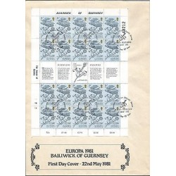 G)1981 GUERNSEY, EUROPA CEPT, GUERNSEY LILY, COMPLETE SHEET OF 20 WITH LABEL, F