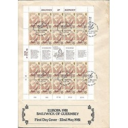 G)1981 GUERNSEY, EUROPA CEPT, HEADSHAPED ROCK, COMPLETE SHEET OF 20 WITH LABEL,
