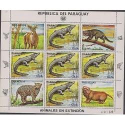O) 1983 PARAGUAY, ANIMALS IN DANGER OF EXTINCTION, JAGUARUNDY, BLASTOCERUS, PANT