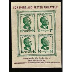 E)1944 PHILIPPINES, FOR MORE AND BETTER PHILATELY, MANUEL L. QUEZON, IMPERFORATE
