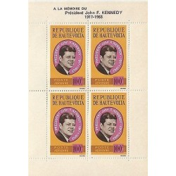 E)1963 ALTO VOLTA , TO THE MEMONY OF PRESDIENT JOHN KENNEDY, BLOCK OF 4, MNH