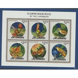 RO)2015 ST. KITTS AND NEVIS, HUMMINGBIRDS - BIRDS FO THE CARIBBEAN, EXOTICS BIR