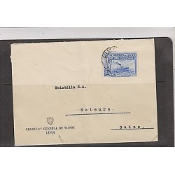 C) 1950 PERU CIRCULATED COVER TO SWITZERLAND WITH 15 CTS SHIP FROM CONSULAT