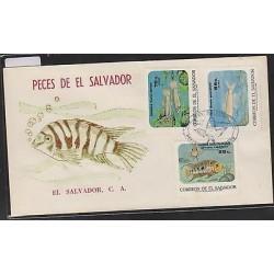 O) 1985 EL SALVADOR, FISHES - CICHLASOMA TRIMACULATUM, ALGAE- ALGAS, FDC XF