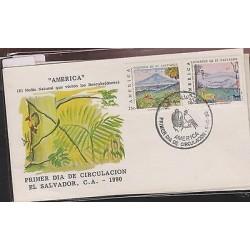O) 1990 EL SALVADOR, AMERICA UPAEP, LANDSCAPE, PAINTING - VOLCANO CHICHONTEPEC,