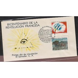 O) 1989 EL SALVADOR, FRENCH REVOLUTION 1789 - PAINTING JEN PIERRE HOUEL BASTILL