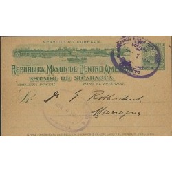 O) 1899 NICARAGUA, CORINTO PORT, MOUNTAINS, BOAT, MAY REPUBLIC CENTRAL AMERICA,