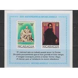 E) 1974 NICARAGUA, 500 ANNIVERSARY OF MICHELANGELO, SOUVENIR SHEET, MNH
