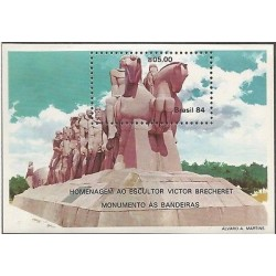 E)1984 BRAZIL, FLAGS (SCULTURE WITH 40 FIGURES) BY VICTOR BRECHERET, A1022, S/S