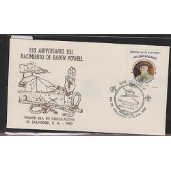 O) 1990 EL SALVADOR, SCOUTS, 133 ANNIVERSARY OF THE BIRTH OF BADEN POWELL, FDC X