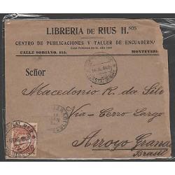 O) 1909 URUGUAY, 7 CENTESIMOS, COAT FO ARMS, COVER TO BRAZIL, XF