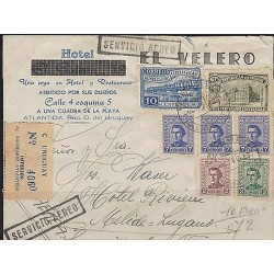 O) 1950 URUGUAY, GENERAL ARTIGAS, AIRMAIL MULTIPLE, COVER TO TICINO SWITZERLAND