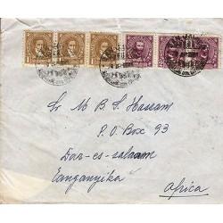 G)1947 URUGUAY, SILVESTRE BLANCO 1 C-EDUARDO ACEVES 2 C, STRIPS OF 3, CIRCULATED