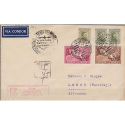 o) 1934 URUGUAY, ZEPPELIN, PEGASO, ARTIGAS, COVER TO GERMANY, XF