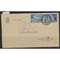 O) 1930 URUGUAY, PEGASUS - 4 CENTS, FLAG - 5 CENTS BLUE, AIRMAIL TO ARGENTINA, X