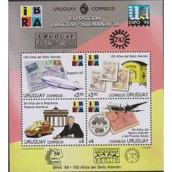 G)1998 URUGUAY, GRAF ZEPELLIN FFC-MAIL BOX-CAR-FRIED RICHS HAFEM-AIRPLANE-COIN-S