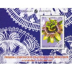 G)1997 URUGUAY, MIBURUCUYA FLOWER, FIRST PHILATELIC EXHIBITION MERCOSUR, S/S, MN