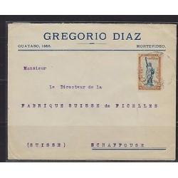 o) 1919 URUGUAY, LIBERTY STATUE - 8 CENTESIMOS, SINGLE RATE TO SWITZERLAND, XF