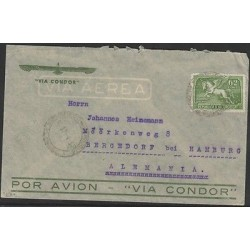 O) 1937 URUGUAY, PEGASUS 62 CENTS GREEN,AIRMAIL TO GERMANY