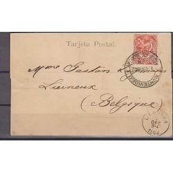 O) 1902 URUGUAY, POSTAL CARD 2 CENTESIMOS, TO BELGIUM, XF