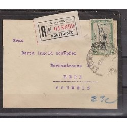 O) 1919 URUGUAY, LIBERTY STATUE - 23 CENTESIMOS, COVER TO SWITZERLAND