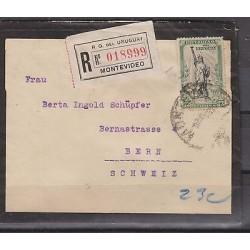 O) 1919 URUGUAY, LIBERTY STATUE - 23 CENTESIMOS, COVER TO SWITZERLAND