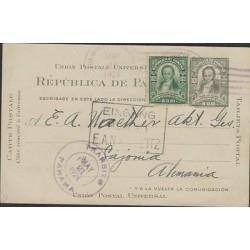 O) 1924 PANAMA, POSTAL STATIONARY, 1 CENTIMO DE BALBOA GREEN JOSE VALLARINO, 1 C