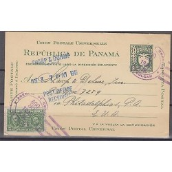 V. dc o) 1946 PANAMA, VOLCAN CANCELLATION POSTAL STATIONARY, TO PHILADELPHIA