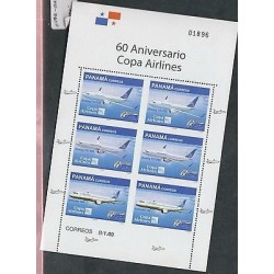 rO)2008 PANAMA, AIRLINES, AIRPLANE, MINI SHEET MNH