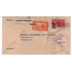 E) 1948 PANAMA, CIRCULATED COVER, INTERNAL USE, WITH VIOLET CACHET ANNIVERSARY