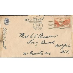 E)1945 PANAMA, CANAL ZONE POSTAGE ORANGE, CIRCULATED COVER TO USA, XF