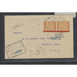 rO)1906 PANAMA, REGISTERED LETTER FROM PANAMA TO BROCKTON MASS USA, XF BOTTOM M