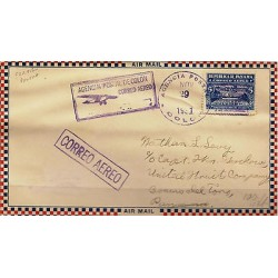 G)1931 PANAMA, HYDROPLANE-PALM-BEACH, FIRST NATIONAL FLIGHT, VIOLET CIRCULAR COL