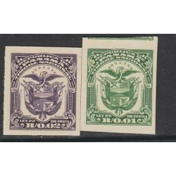 O) 1925 PANAMA, ABN CARDBOARD PROOFS COAT OF ARMS. 2 VALUES 001 B AND 002 B.