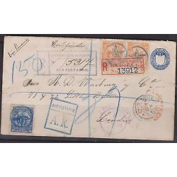 O) 1895 EL SALVADOR - SAN SALVADOR, POSTAL STATIONARY, REGISTERE ENVELOPE WITH 1