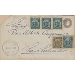 O) 1895 EL SALVADOR, COAT OF ARMS, 2 CENTAVOS BLUE, 1 CENTAVO BROWN, POSTAL STAT