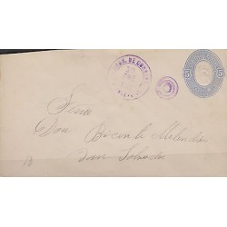 G)1891 EL SALVADOR, POSTAL STATIONARY 5C, CIRCULAR VIOLET CANC., CIRCULATED TO S