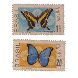 E) 1971 BRAZIL, BUTTERFLIES, SET, MNH