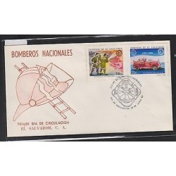 O) 1989 EL SALVADOR, FIREFIGHTERS - BODY OF REDEMPTION RESCUE, CAR OF 1883, FDC