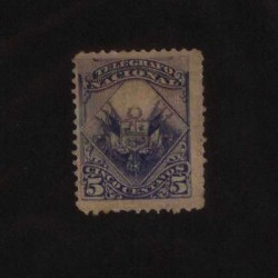 E) 1885 PERU, BLUE COAT OF ARMS, TELEGRAPH NG
