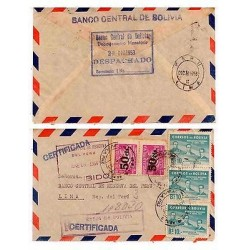 E) 1953 BOLIVIA, TO CENTRAL RESERVE BANK OF PERU, CIRCULATED COVER