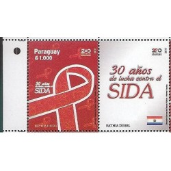O) 2012 PARAGUAY, 30 YEARS OF FIGHTING AIDS-VIH, SET MNH
