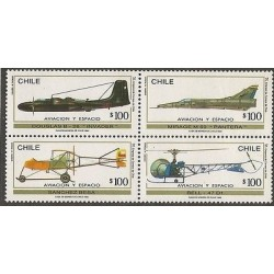 E)1993 CHILE, AVIATION AND SPACE, BLOCK OF 4, MNH