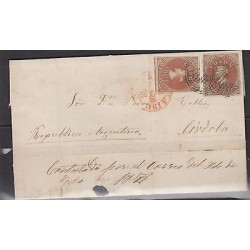 O) 1858 CHILE, PAIR WITH GREAT MARGINS, (2) 5 CTVOS, WITH GREAT MARGINS , VALPAR