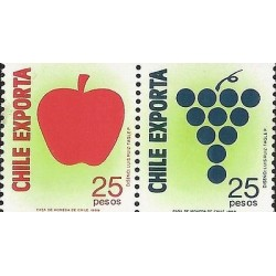 E)1989 CHILE, CHILE EXPORTS FRUITS, APPLE, GRAPE, MNH